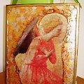 ikona z aniołem #dekupage #dekupaż #deqoupage #ikona #deska #spękania #złocenia