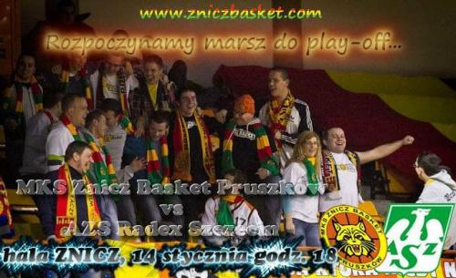 Plakat zapowiadający spotkanie I ligi koszykówki mężczyzn pomiędzy drużynami MKS Znicz Basket Pruszków i AZS Radex Szczecin #ZniczBasket #Pruszków #koszykówka #ILiga #PZKosz #kosz #basket #AZSRadex #Szczecin