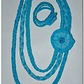 Naszyjnik bransoleta z dzianiny #biżuteria #bransoleta #drewna #kwiaty #metalu #naszyjnik #OzdobyZMateriału #rękodzieło #róże