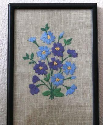 obrazek, haft płaski, niezapominajki #niezapominajki #kwiaty #HaftPłaski #rękodzieło #RobótkiRęczne