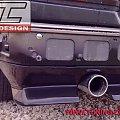 mercedes w-201 190 - wykonana dokładka, spojler tylnego zderzaka w lakierze podkładowym, podkład - przed lakierowaniem. Dokładka wykonana od podstaw.Koncówka wydechu REMUS #auto #autodesign #benz #bil #blenda #car #daszek #dokładka #lotka #show