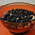 Budyń śmietankowy, sok malinowy, jagody = to co kocham :) #jedzenie