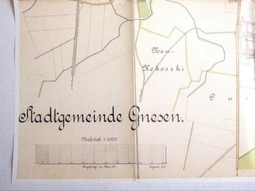 Gniezno lata 1911-1913 podziałka dla skali 1:5000
