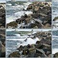 Górki Zachodnie-to tylko jedna fala rozbija się o skały na Westerplatte #collage #InaczejNadMorzem #fale #skały #Westerplatte #żywioł